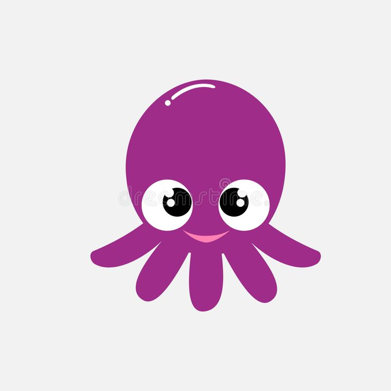 与大眼睛的逗人喜爱的紫色章鱼和在灰色背景的愉快的微笑 库存照片
