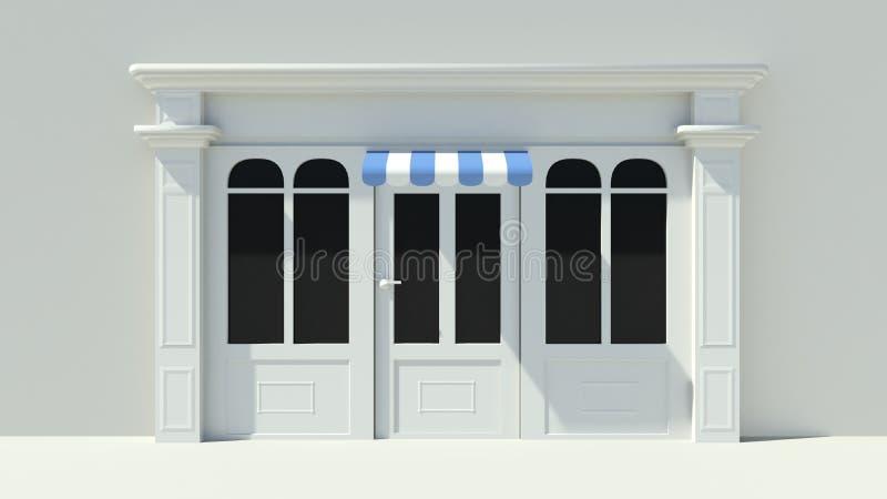 与大窗口白色商店门面的晴朗的Shopfront与蓝色和白色遮篷 向量例证