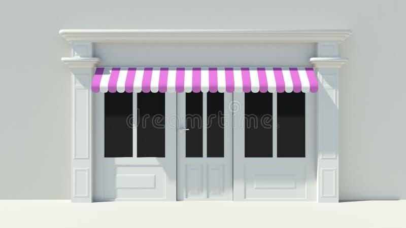 与大窗口白色商店门面的晴朗的Shopfront与紫色桃红色和白色遮篷 向量例证