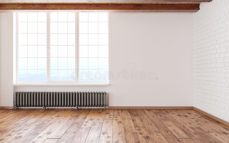与大窗口白色墙壁、砖、木粱和地板的空的室顶楼内部 3d回报例证嘲笑  皇族释放例证