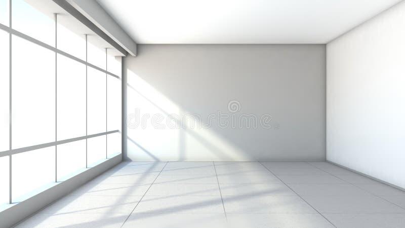 与大窗口的白色空的内部 向量例证