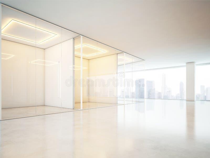 与大窗口的空白的办公室内部 免版税图库摄影