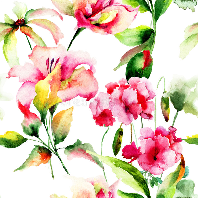 与大竺葵和百合花的无缝的墙纸 向量例证