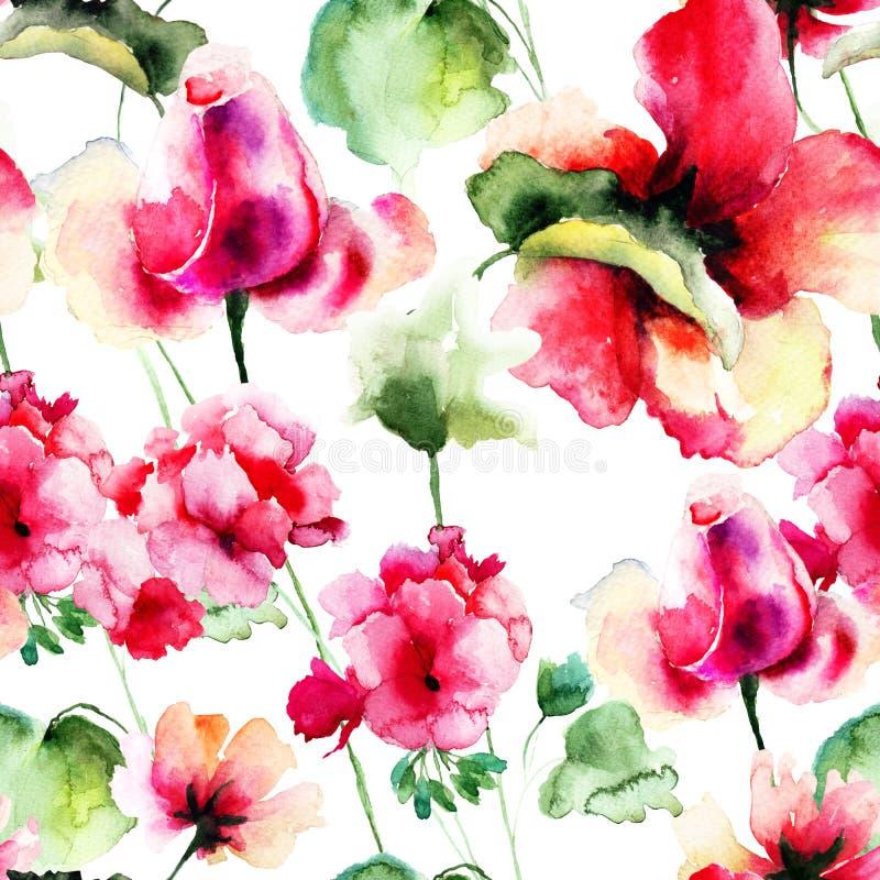与大竺葵和罗斯花的无缝的墙纸 向量例证