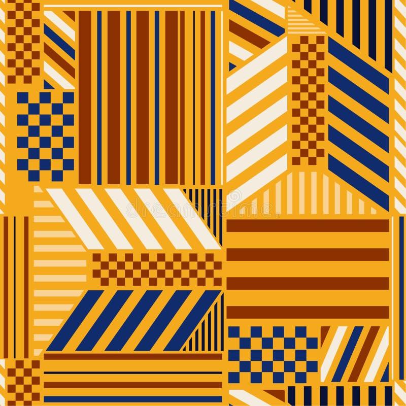 与大胆的条纹块的减速火箭的无缝的样式与方格的现代时尚的样式元素时髦geometricdesign混合 皇族释放例证
