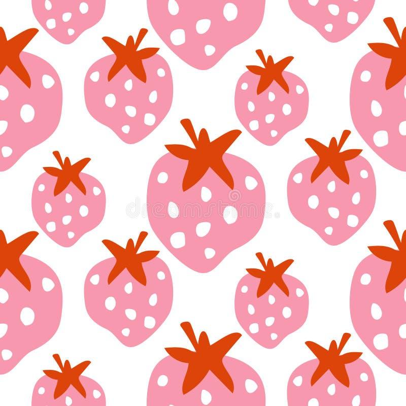 与大胆的桃红色莓果传染媒介的无缝的草莓样式纹理 库存例证