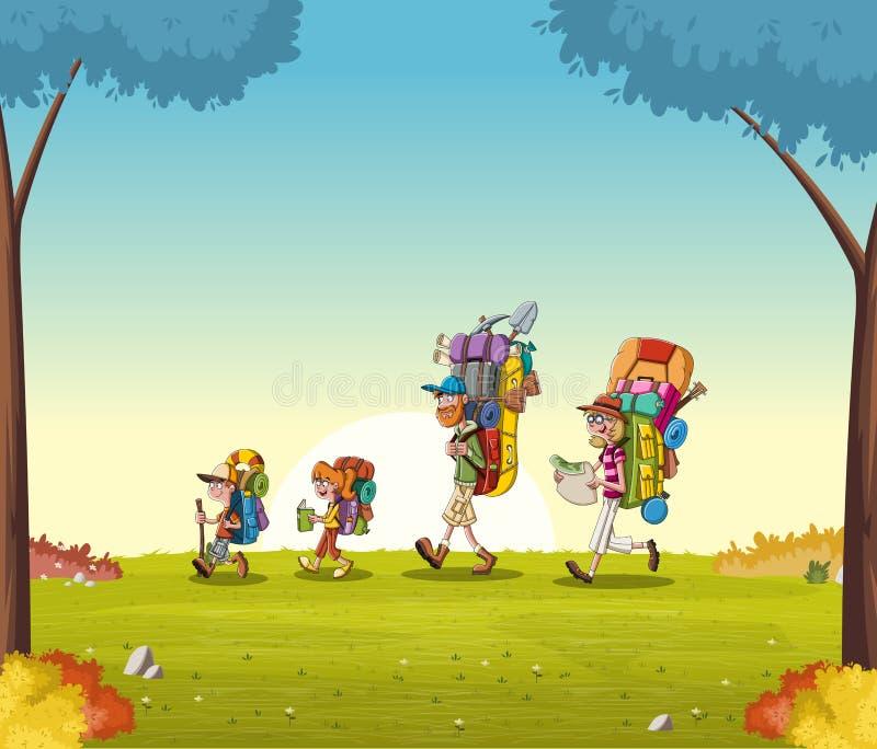 与大背包的动画片家庭在绿色公园 步行在自然背景的人们 皇族释放例证