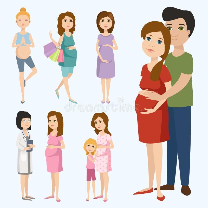 与大腹部传染媒介例证的怀孕母性人期望概念愉快的孕妇字符生活 皇族释放例证