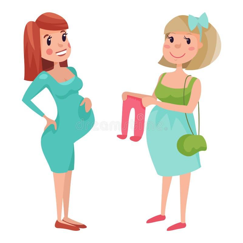 与大腹部传染媒介例证的怀孕母性人期望概念愉快的孕妇字符生活 库存例证