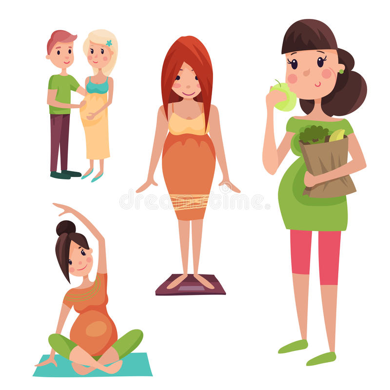 与大腹部传染媒介例证的怀孕母性人期望概念愉快的孕妇字符生活 向量例证