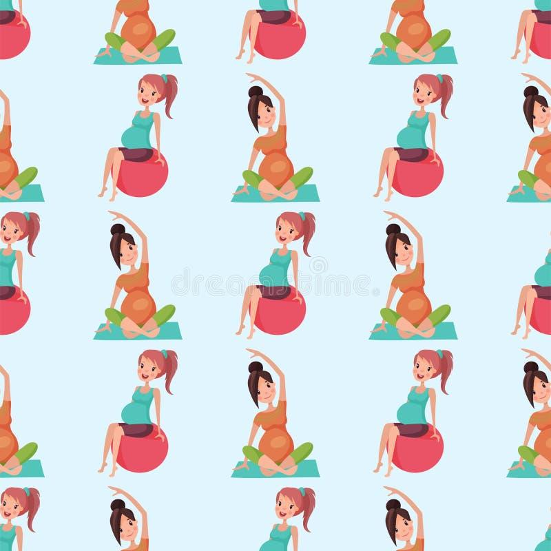 与大腹部传染媒介例证的怀孕母性瑜伽孕妇无缝的样式字符生活 向量例证