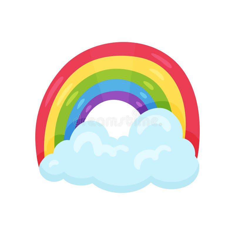 与大蓝色云彩的逗人喜爱的多彩多姿的彩虹 天气符号 儿童居室的装饰墙壁贴纸 平的传染媒介 库存例证