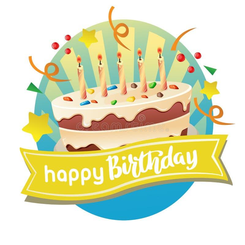 与大蛋糕的生日快乐标签 皇族释放例证