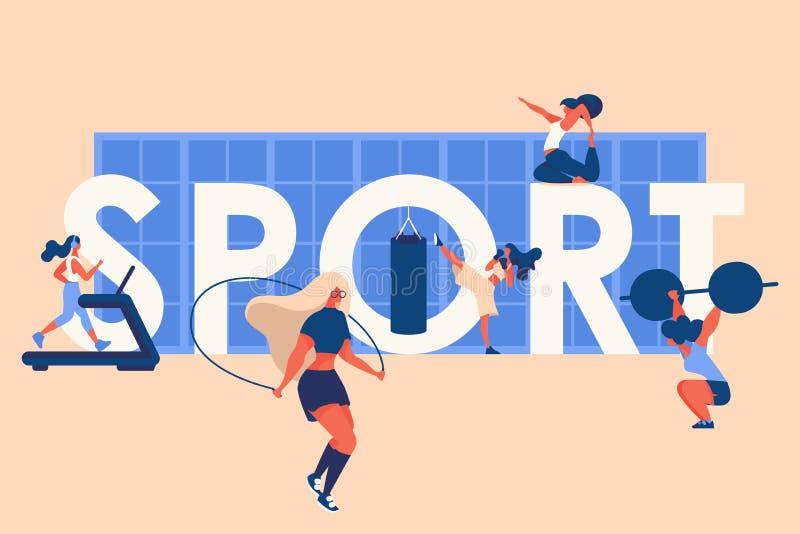与大词体育、窗口和年轻女人训练的概念例证 传染媒介设计,有益于健身房和适合节目 皇族释放例证