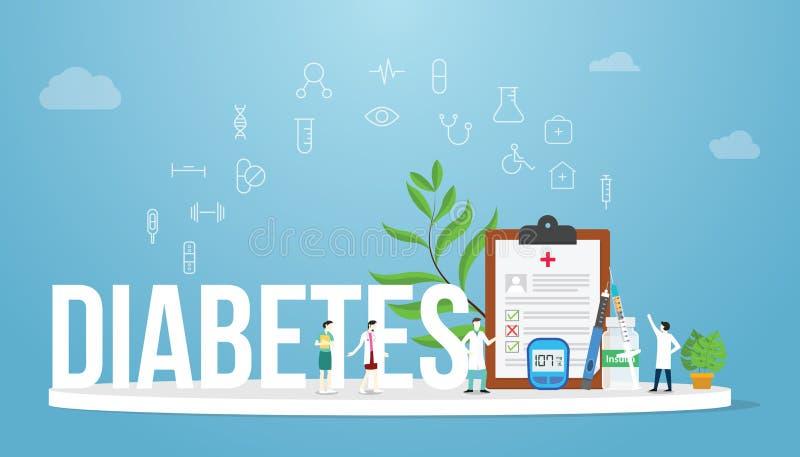 与大词的糖尿病概念医疗健康报告概念和队医生和护士有医疗象的-传染媒介 皇族释放例证