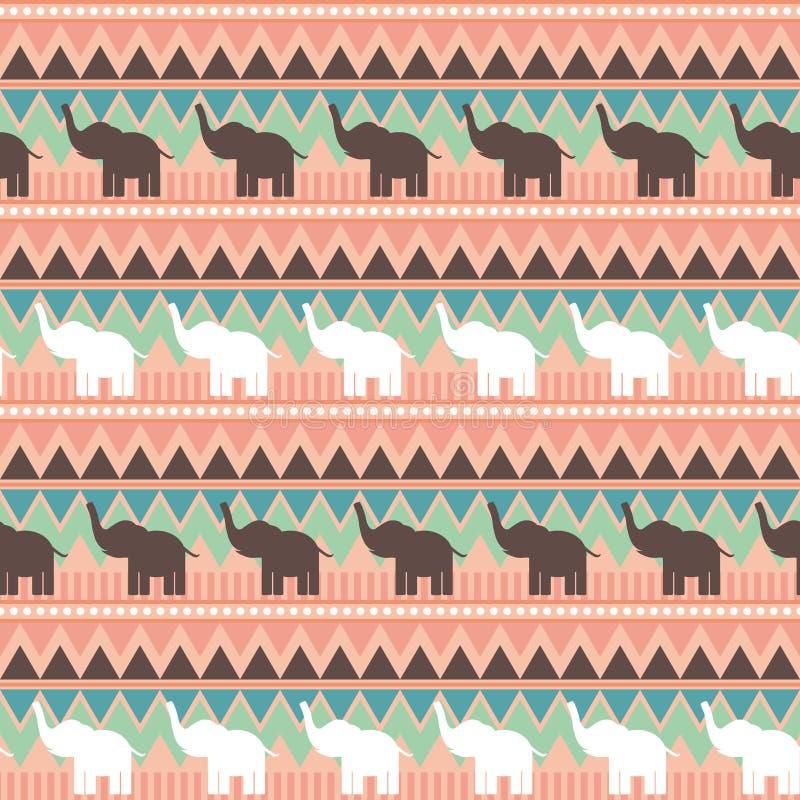 与大象、三角和线部族样式的抽象几何无缝的样式 绿色桃红色棕色几何印刷品,种族臀部 皇族释放例证