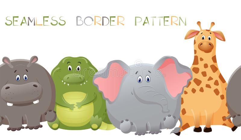 与大象、长颈鹿、鳄鱼和河马的传染媒介无缝的边界样式 逗人喜爱的肥胖卡通人物 乐趣的概念 皇族释放例证