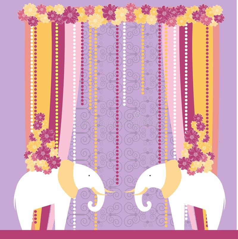 与大象的婚礼曲拱 也corel凹道例证向量 库存例证