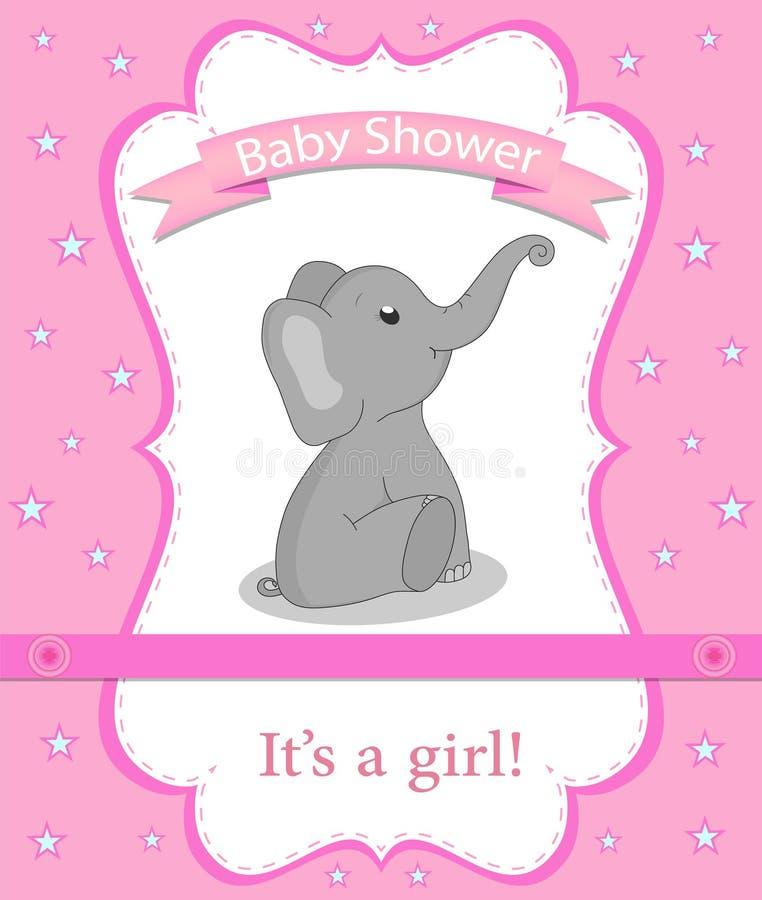 与大象的贺卡婴儿送礼会的一个女孩的 o 与灰色大象的婴儿送礼会请帖 传染媒介不适 向量例证
