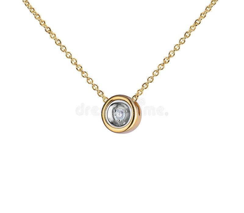 与大金刚石,圆形,金黄链子的金银铜合金垂饰,隔绝在白色 免版税库存图片