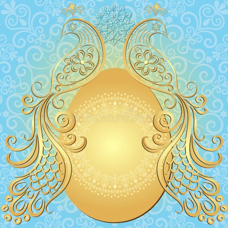 金蓝色复活节葡萄酒框架 向量例证