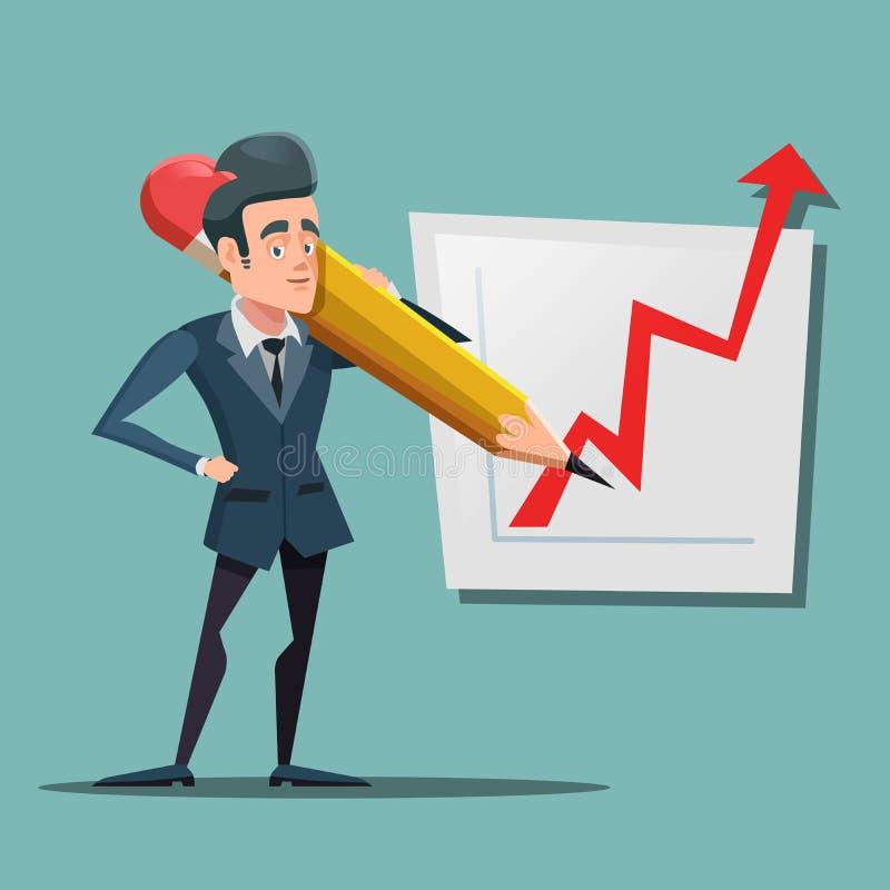 与大铅笔图成长图表的动画片商人 企业规划 库存例证