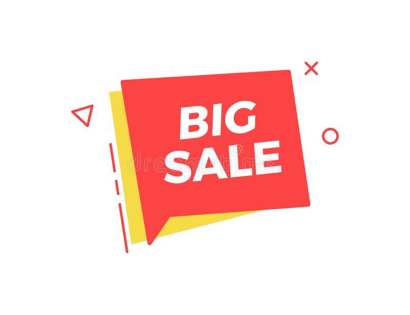 与大销售文本的质朴的箱子演说序幕几何形状 传染媒介事务、销售和商务的例证设计 库存例证