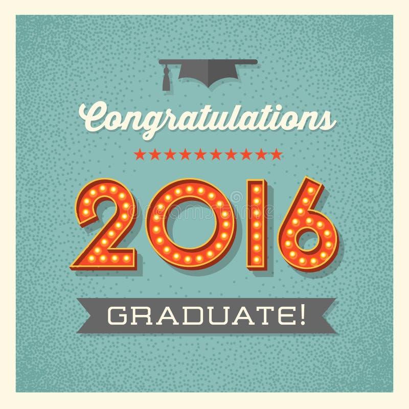 2016年与大门罩被点燃的数字的毕业卡片 向量例证