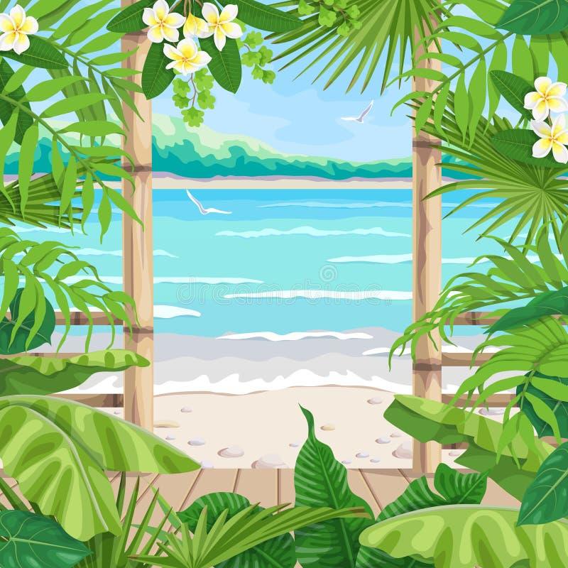 与大阳台的热带背景在海边 向量例证