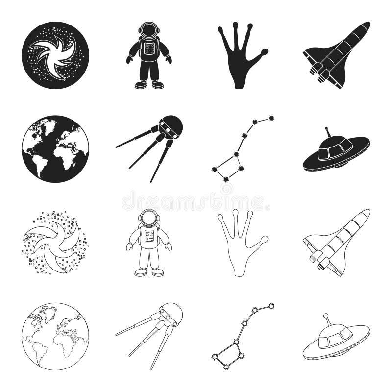 与大陆和海洋,飞行的卫星,飞碟大熊座的,行星地球 在黑色,概述的空间集合汇集象 皇族释放例证