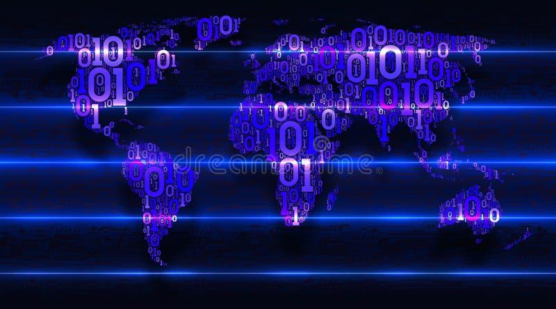 与大陆的世界地图从二进制编码有抽象电子背景  概念云彩服务,iot,ai,大数据 库存例证