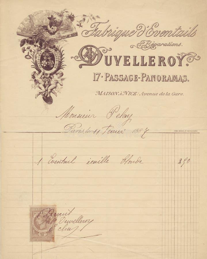 与天使图表的古色古香的脏的法国发货票收据 库存照片