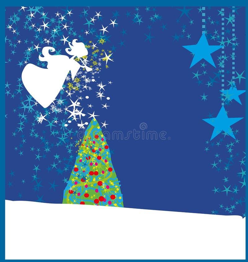 与天使的抽象圣诞卡 皇族释放例证