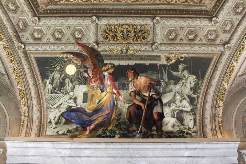 与天使的绘画 免版税库存图片