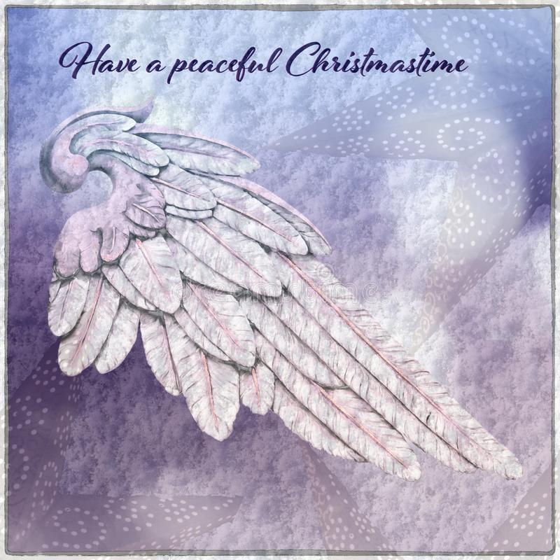 与天使翼的圣诞卡 库存图片