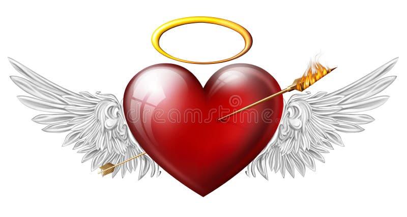 与天使翼的红色心脏 皇族释放例证