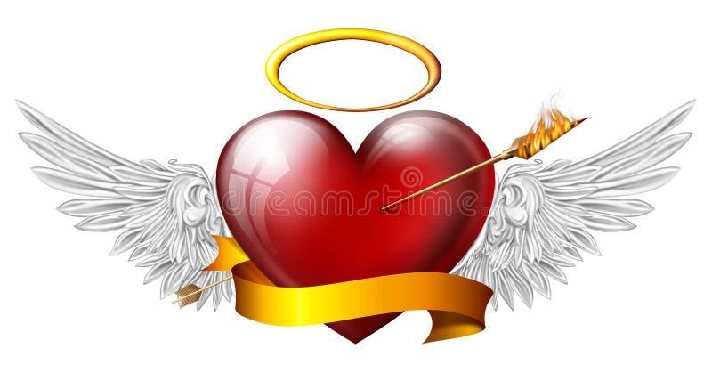 与天使翼的红色心脏 向量例证