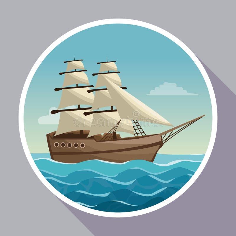 与天空海洋风景和风船圆框架的五颜六色的海报  向量例证