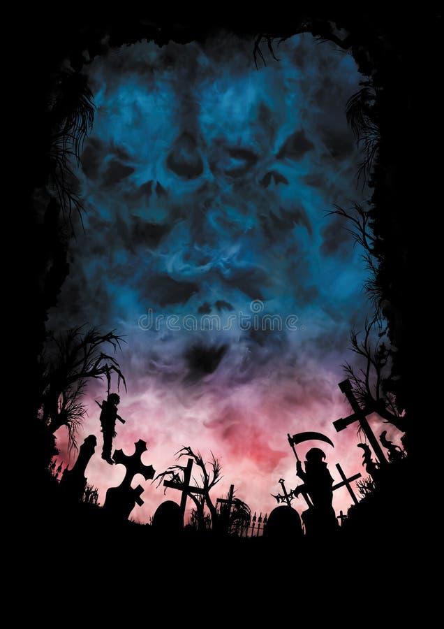 与天空的恐怖背景喜欢头骨和公墓 皇族释放例证