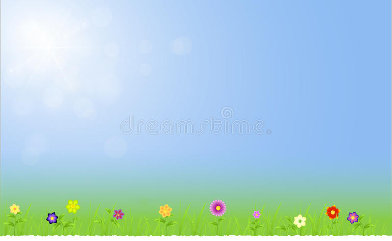 与天空的春天风景与光 向量例证