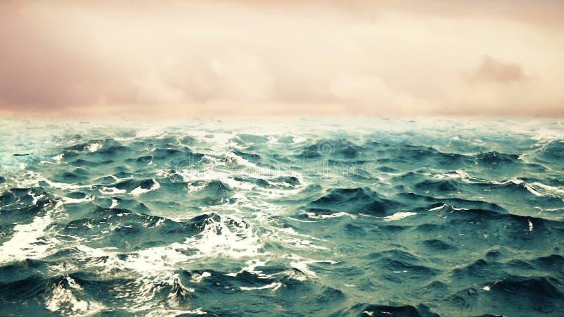 与天空的海浪在背景 图库摄影