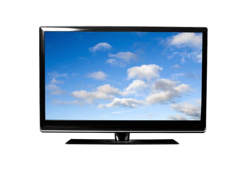 与天空的电视 免版税库存图片