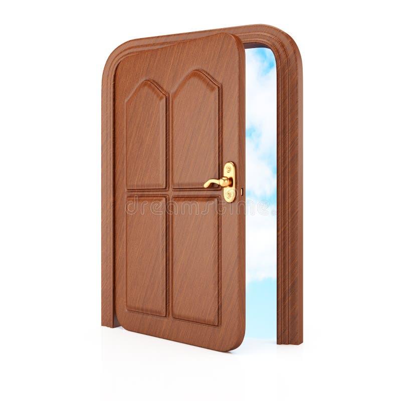 与天空的门在框架 库存例证