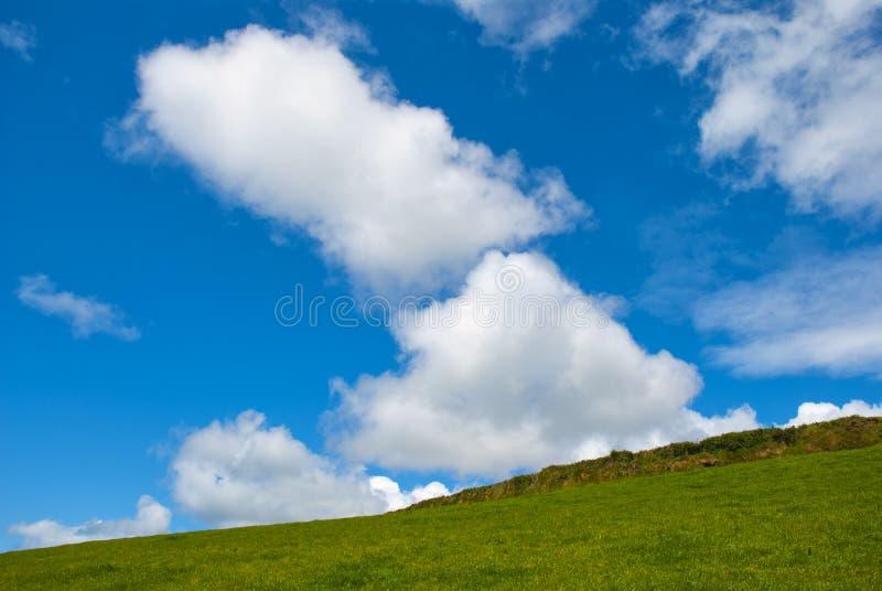 与天空蔚蓝的典型的绿色爱尔兰国家边 免版税库存图片