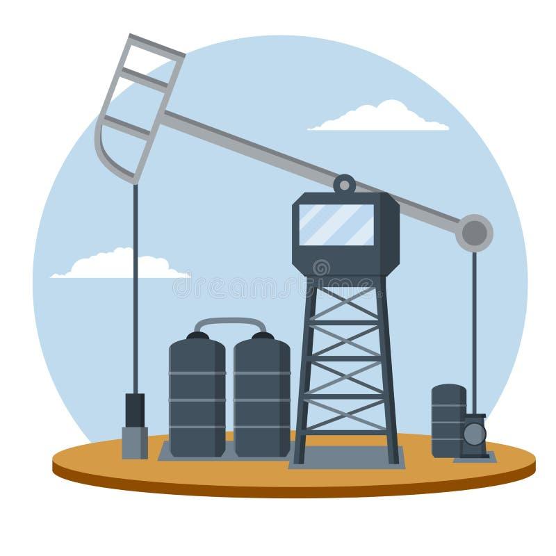 与天空蔚蓝的抽油装置 行业概念 动画片平的例证 向量例证