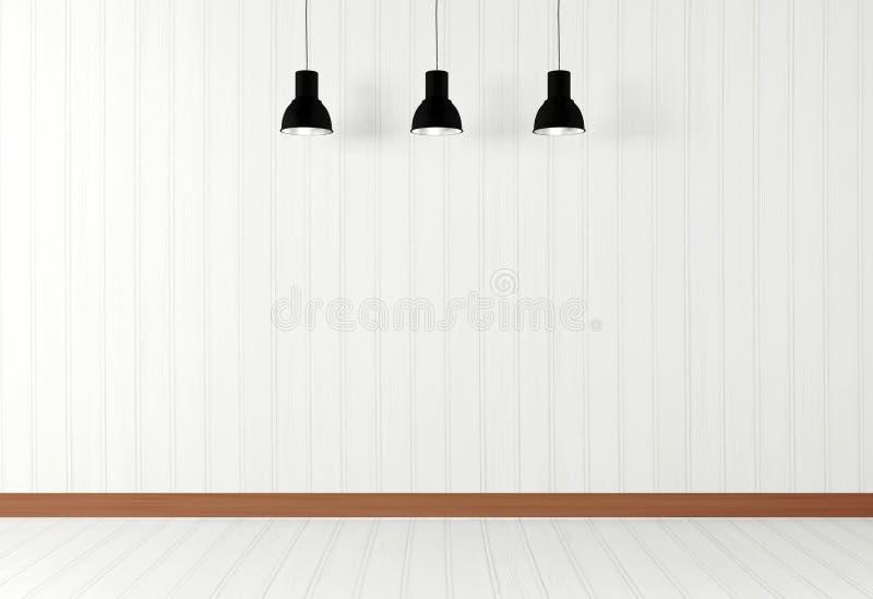与天花板灯的白色空的室内部 图库摄影