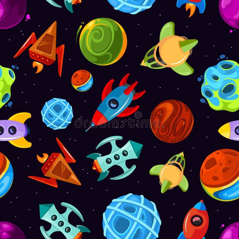 与太空飞船、星、行星和火箭,儿童的意想不到的背景的空间向量无缝的样式 皇族释放例证
