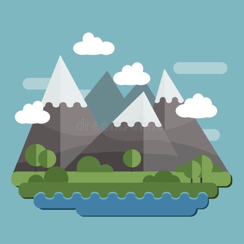 与太阳、小山和云彩的平的设计自然风景例证 库存例证