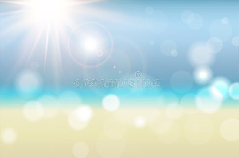 与太阳光芒和被弄脏的bokeh的抽象夏天背景 向量例证