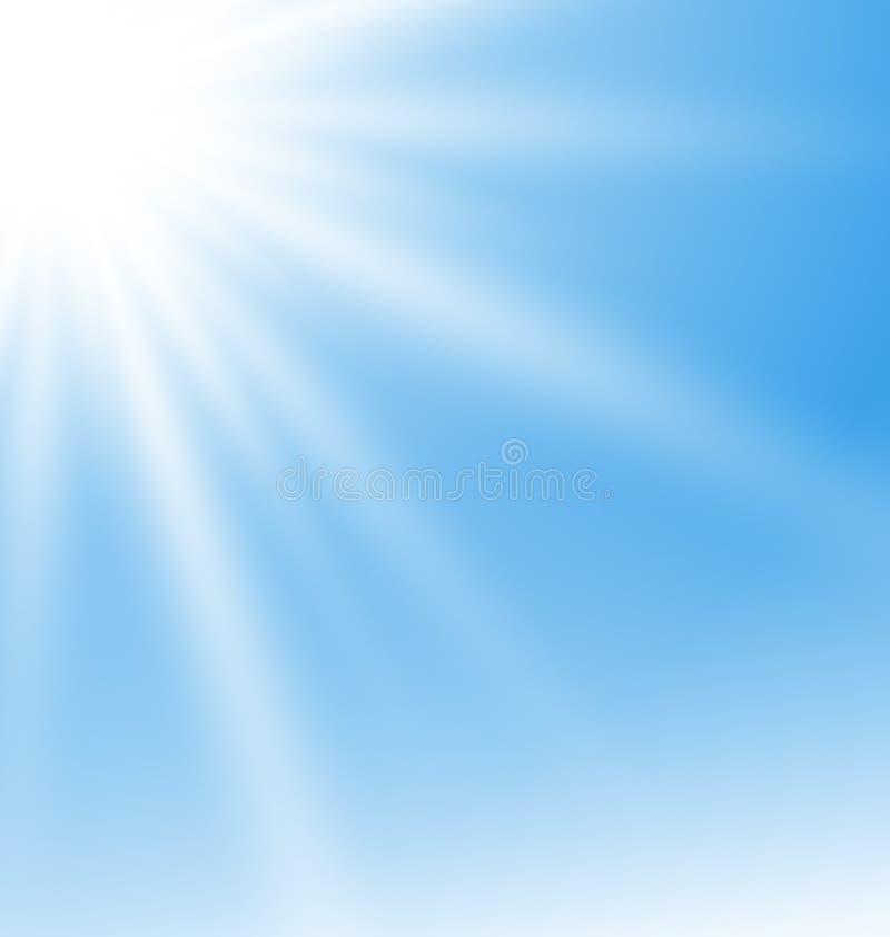 与太阳光芒的抽象蓝色背景 皇族释放例证